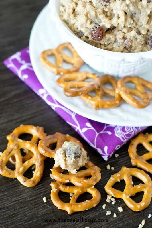 Oatmeal raisin cookie lovers will love this Oatmeal Raisin Cookie Dip. Whip up this cookie dip quickly for a sweet and salty dessert that is infused with cinnamon and has walnuts, oatmeal and raisins in every bite.
