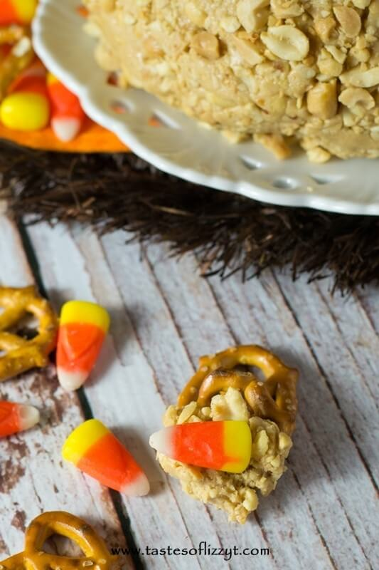 Anyone who loves peanuts and candy corn will love this Candy Corn Peanut Butter Ball. Serve this dessert dip with pretzels for a mouth-watering sweet and salty treat.