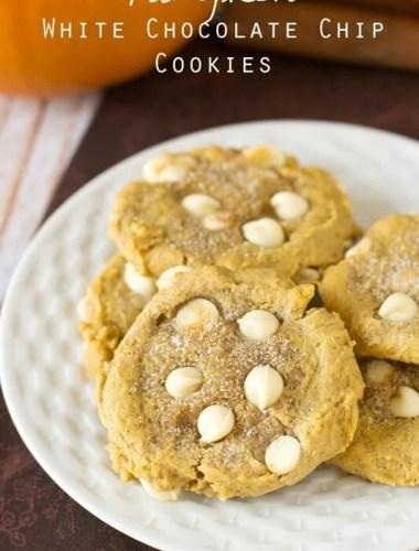 plate of white chocolate pumpkin cookies