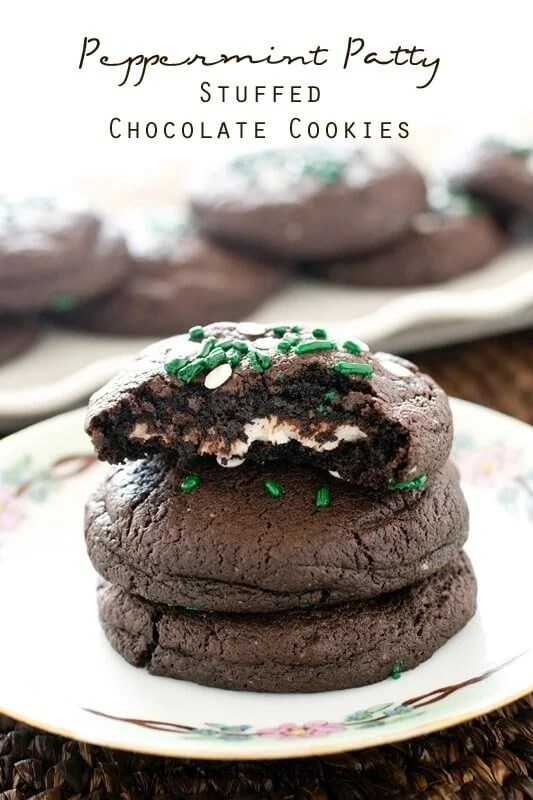 Peppermint Patty Stuffed Chocolate Cookies Recipe - Tastes of Lizzy T