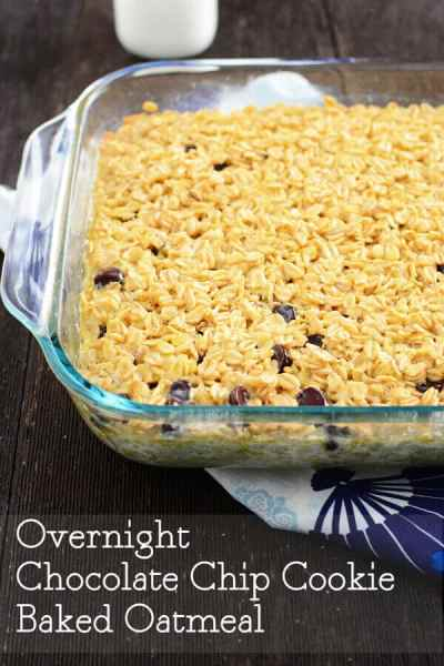 Overnight Chocolate Chip Cookie Baked Oatmeal