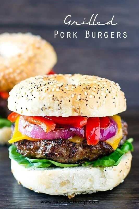 Grilled Pork Burger Recipe - Tastes of Lizzy T
