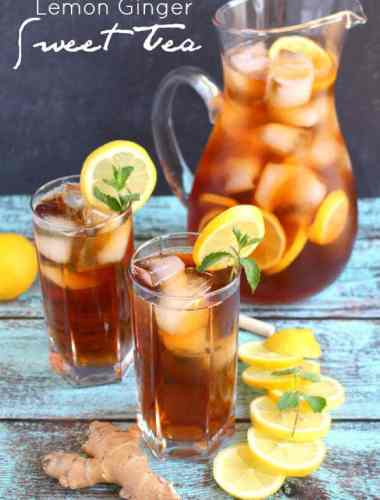 It wouldn't be summer without a cold, refreshing glass of sweet tea! This recipe is made with fresh lemon and ginger for the most amazing flavor. Perfect for sipping on a hot day!