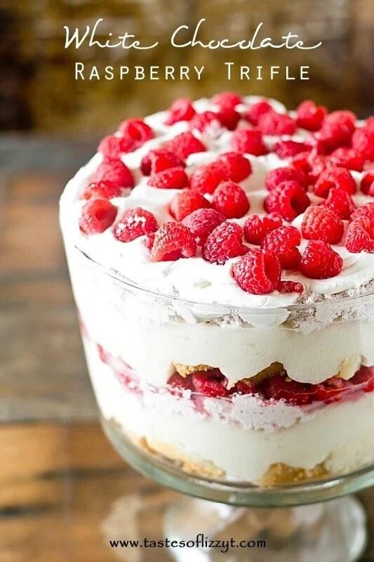 White Chocolate Raspberry Trifle Recipe - Layers of cake, white chocolate pudding and raspberry cream.