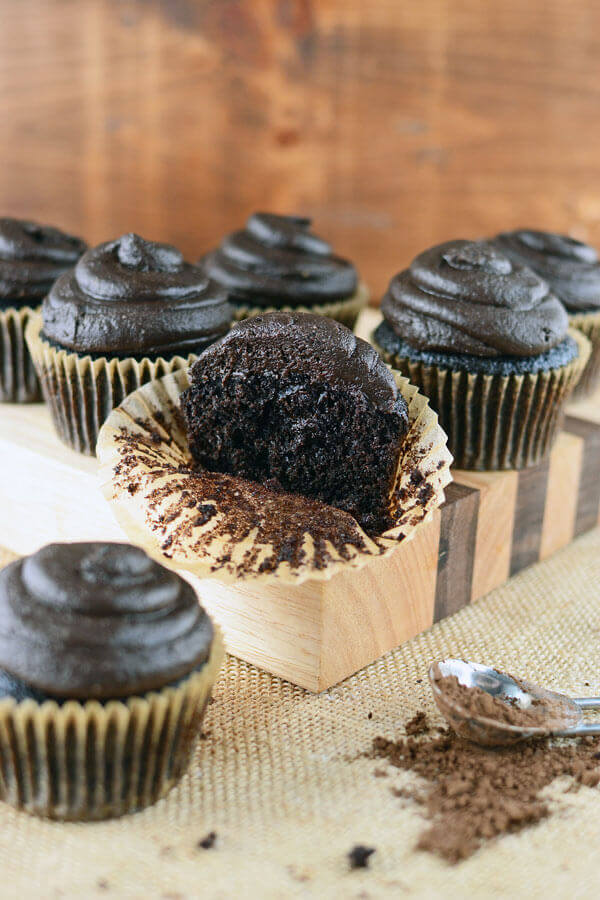 These whole grain chocolate cupcakes are so moist you'd never believe they were whole grain! Topped with amazing dark chocolate peanut butter frosting.