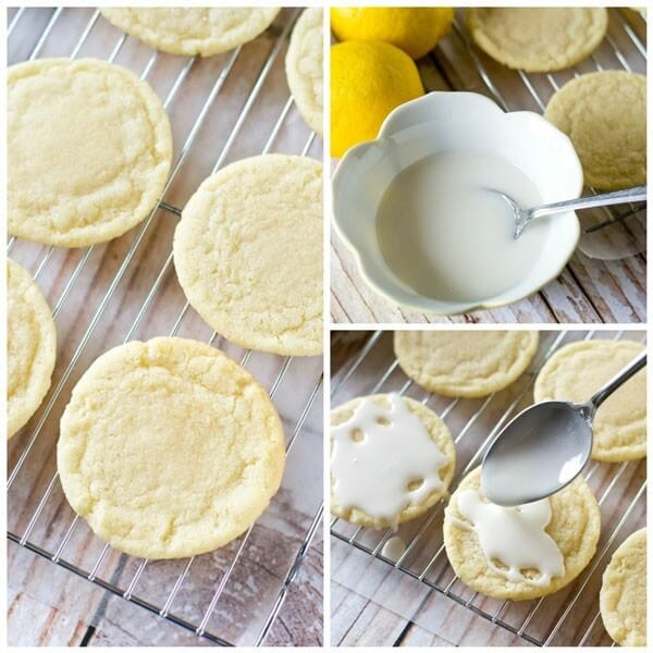 Lemon Sugar Cookies by Tastes of Lizzy T. Light, tangy, crisp on the outside, chewy on the inside, soft sugar cookies with a lemon glaze drizzle. Better than a bakery!