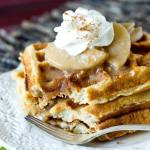 Apple Pie Waffles with Cinnamon Apple Syrup and Whipped Cream