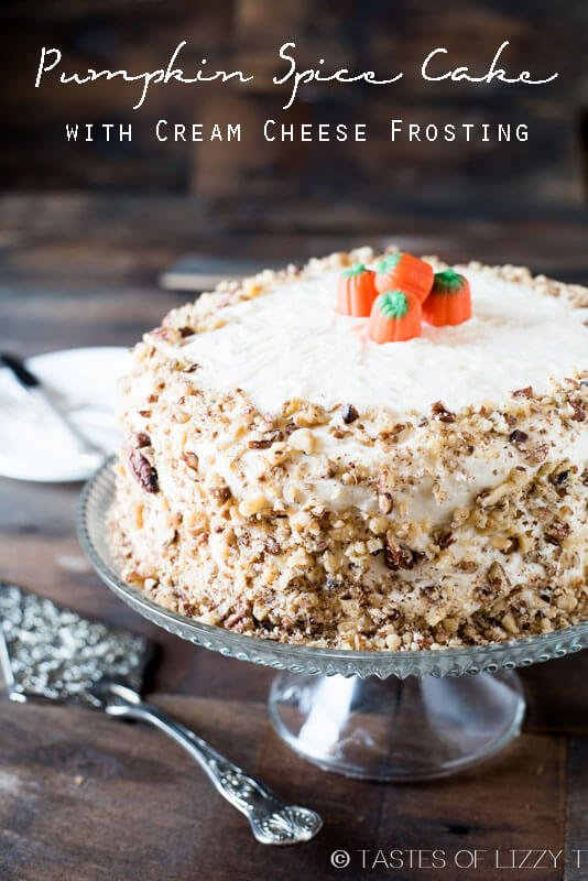 titled photo (and shown): pumpkin spice cake with cream cheese frosting