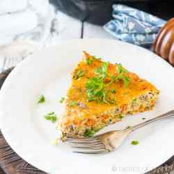 Learn how to make a frittata! This healthy, vegetable and sausage frittata is paleo, gluten free, sugar-free and dairy free. Whole30 approved breakfast!