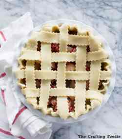 pear cranberry pie with lattice top