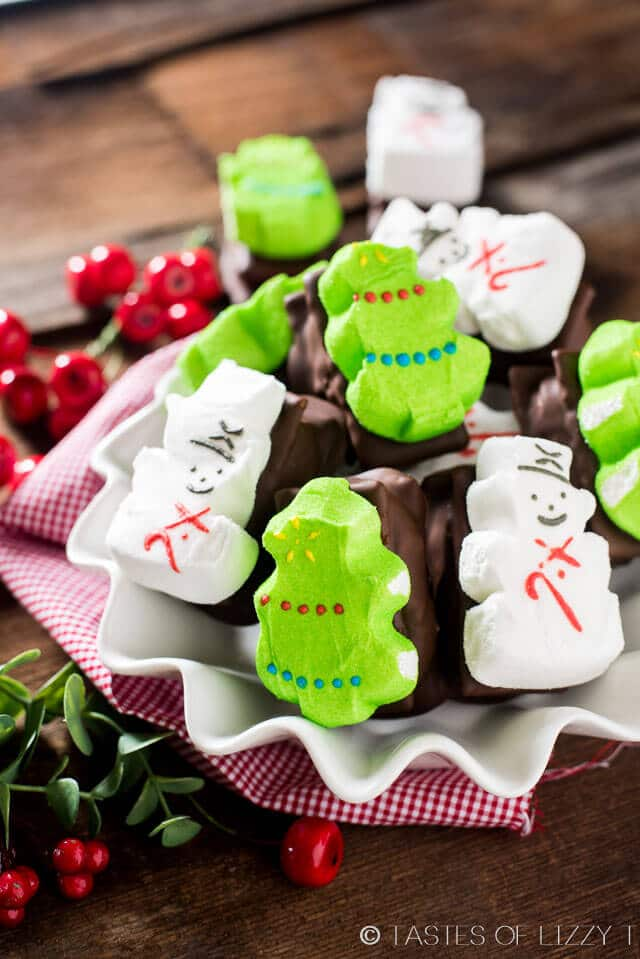 Cute, festive, Chocolate Peanut Butter Marshmallow Sandwiches are a fun treat for kids to make and eat. They'll love the class, sweet and salty flavor combination! Uses PEEPS® Marshmallow Snowmen and Marshmallow Trees #Peepsonality @PeepsBrand