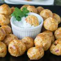 Chipotle Cheddar Gougeres w/ Cilantro Lime Dip - Easy Appetizer Recipe