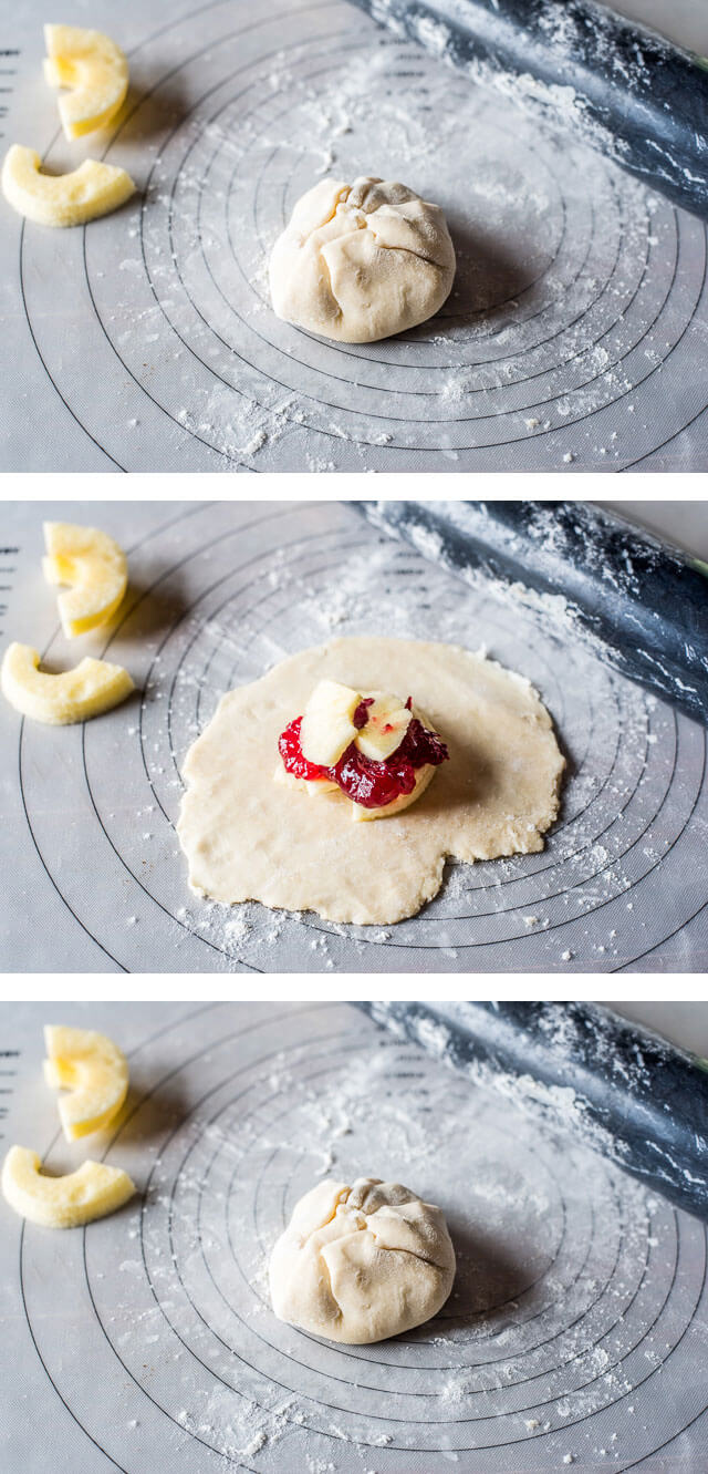 photo collage showing how to make cranberry apple dumplings