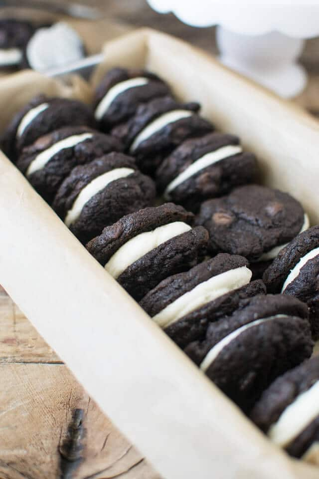 The Best Chocolate Sandwich Cookies: Rich double chocolate cookie sandwiches filled with vanilla buttercream.