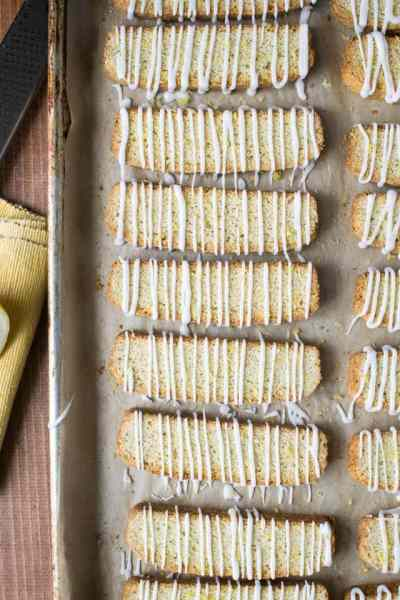 Cardamom Lemon Biscotti with Glaze