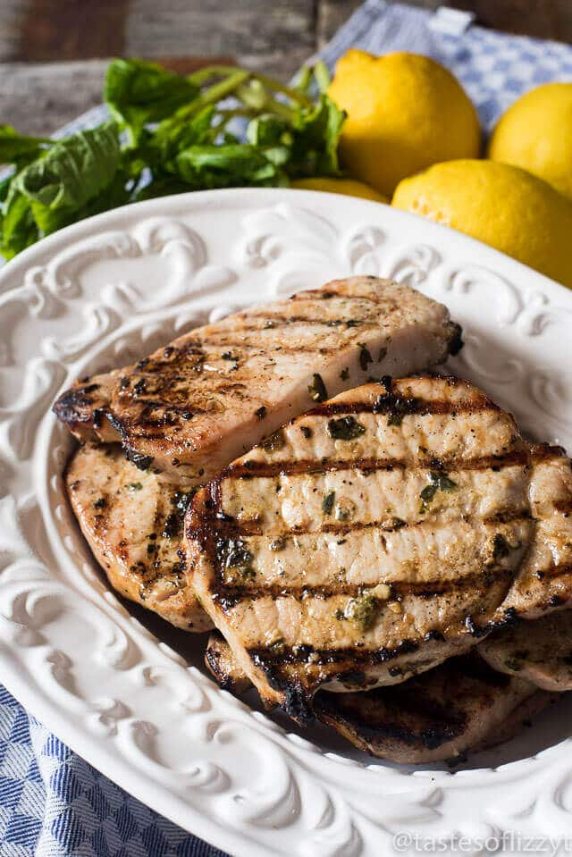 platter of marinated grilled pork chops