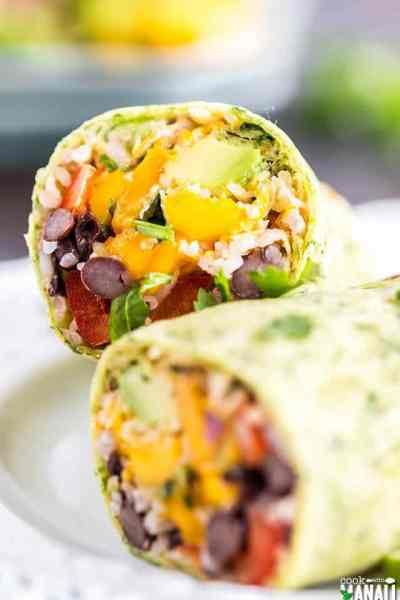 Vegetarian Burritos with Mango Avocado Salsa