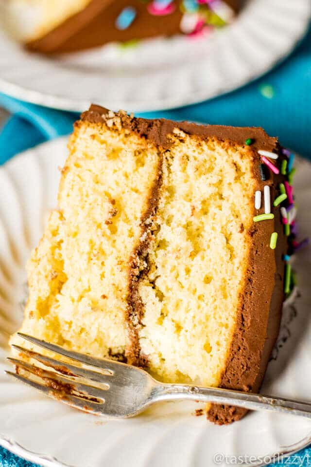 Homemade Yellow Cake Recipe {How to Make From-Scratch