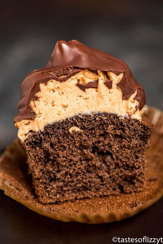 Buckeye Cupcakes {Chocolate Dipped Hi Hat Cupcake Recipe}