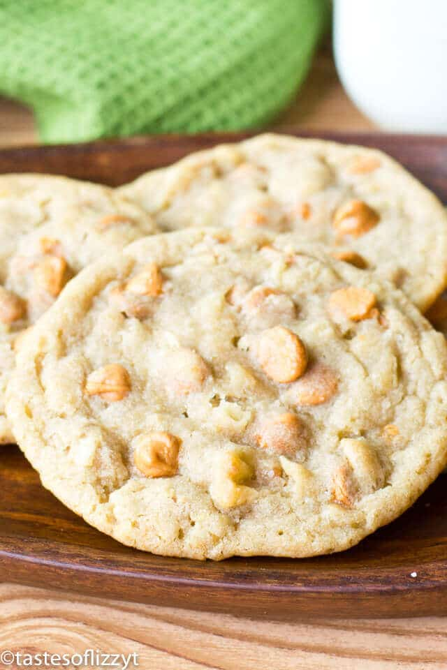 Butterscotch Potato Chip Cookies have crushed potato chips in the dough for a perfect salty & sweet combination. Fall in love with this easy cookie recipe!