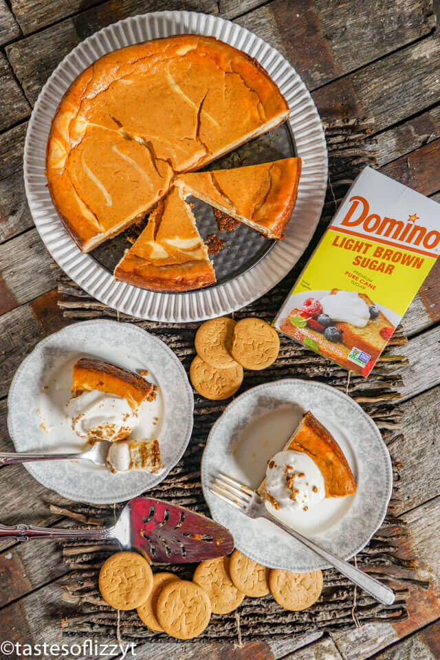 overhead photo of a pumpkin swirl cheesecake in a pan and on dessert plates