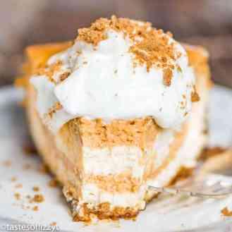 slice of pumpkin swirl cheesecake