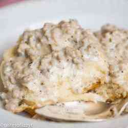 homemade sausage gravy and biscuits