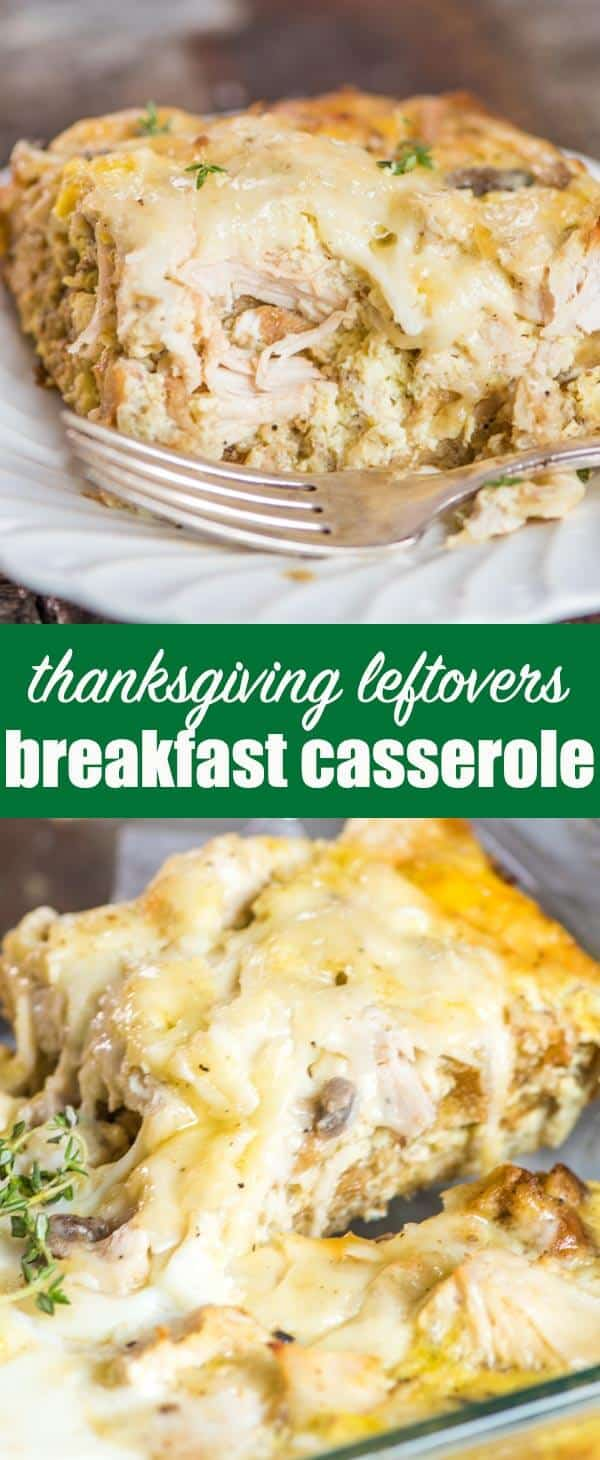Take turkey and stuffing leftovers and turn it into this savory Thanksgiving Leftovers Breakfast Casserole. Make it ahead and refrigerate overnight or bake it right away. #thanksgivingleftovers #turkey #stuffing #breakfast #casserole
