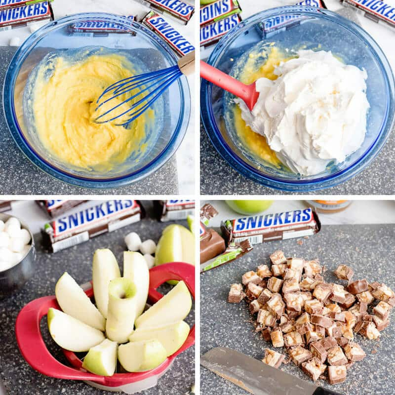 photo collage: making Snickers apple salad