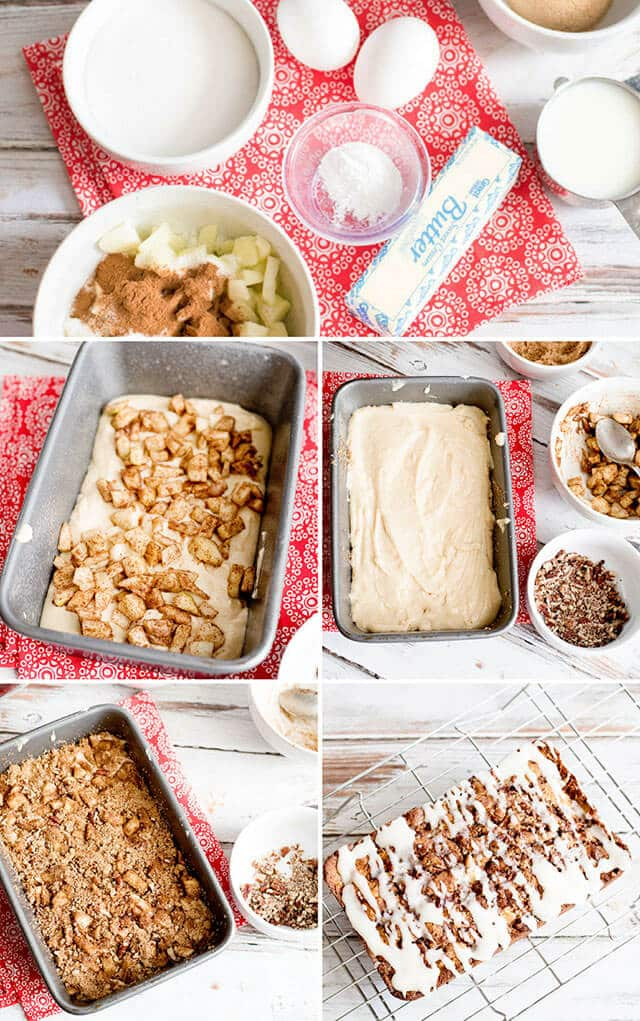 photo collage showing steps to making apple fritter bread