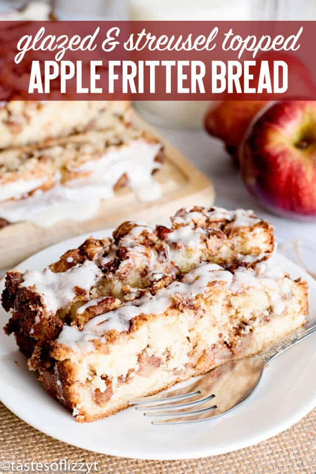 glazed and streusel topped apple fritter bread