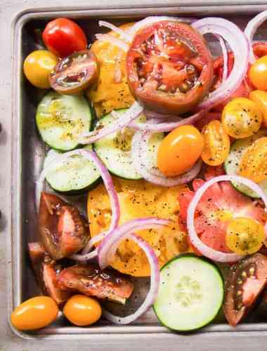 cucumber tomato salad with balsamic vinegar