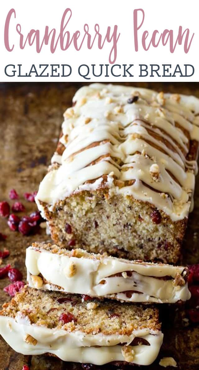 Sweet, moist quick bread full of dried cranberries and pecans. This cranberry pecan bread with white chocolate glaze would make a great hostess gift.