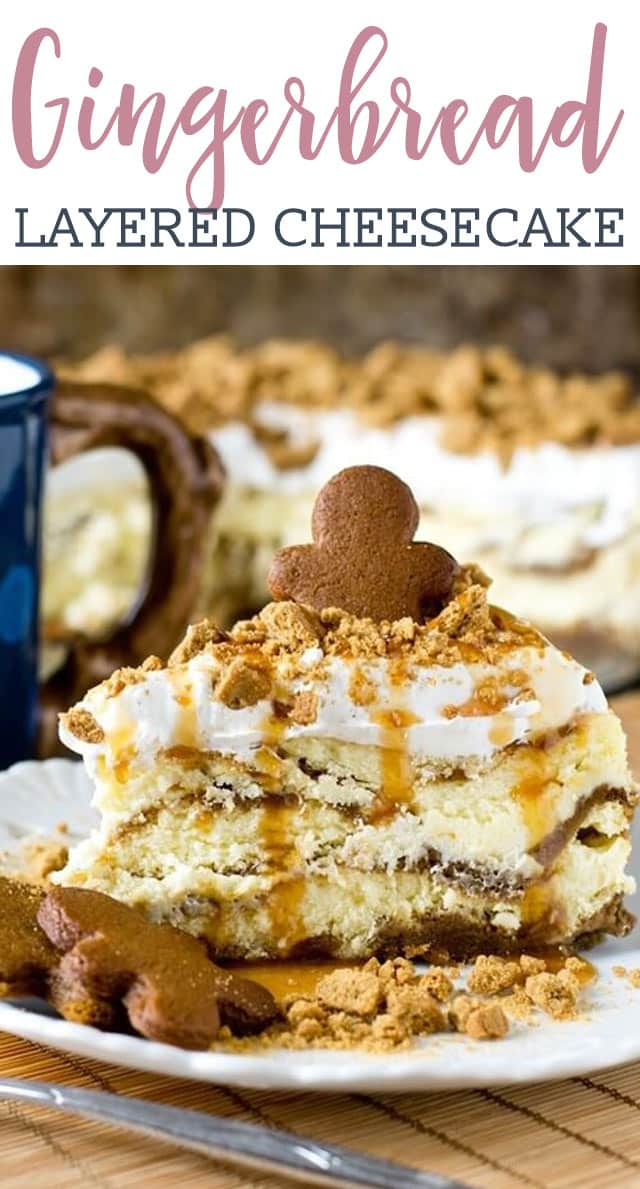 Thick, rich, gingerbread cheesecake layered with gingerbread loaf batter. Spiced whipped topping, crushed gingersnaps and caramel top this decadent, holiday dessert.