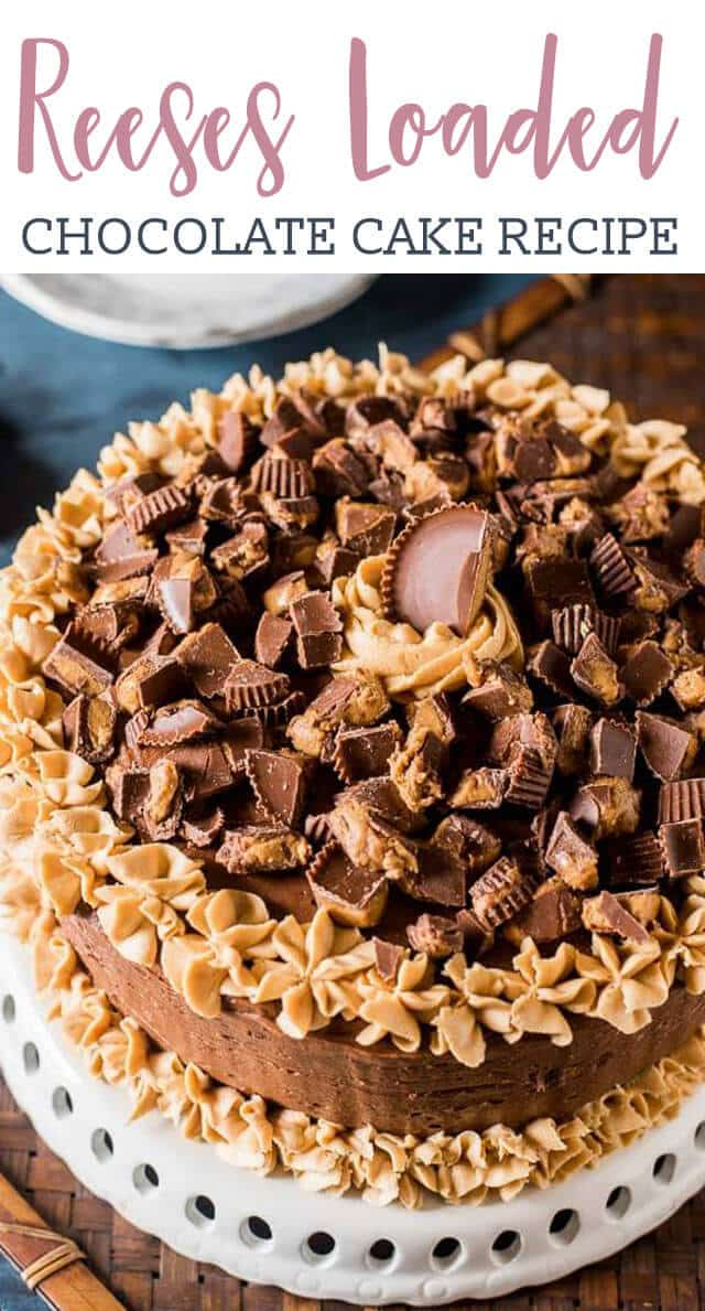 Chocolate Peanut Butter Reese's Cake is a moist chocolate cake with peanut butter frosting and buttercream frosting! Perfect for the Reese's lover in your life!