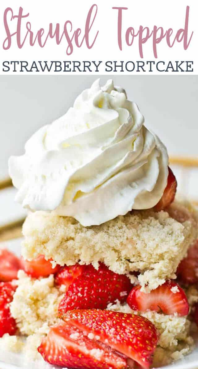 Amish Strawberry Shortcake is unique because of the streusel topping that gets baked on top of the shortcake. Amazingly good with fruit, or by itself!