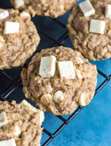 peppermint oatmeal cookies with white chocolate
