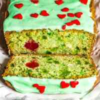 green grinch bread with cherry heart