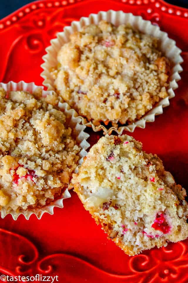 buttermilk muffins with fresh cranberries, pears, pecans, and streusel