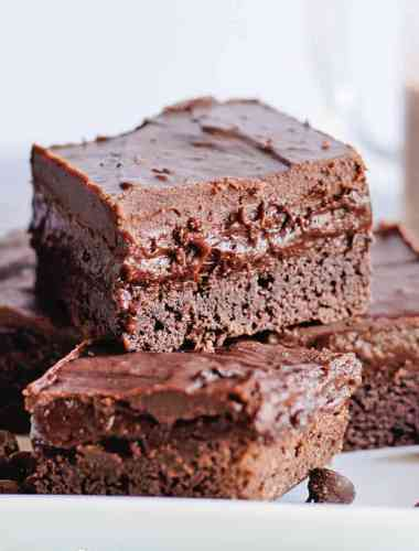 a stack of triple chocolate cake mix brownies
