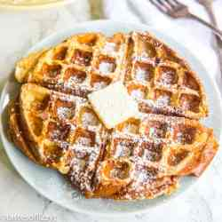 French Toast Waffles on plate with butter