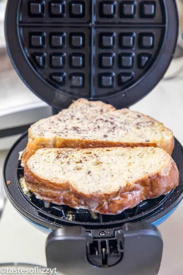 French Toast cooking in waffle iron