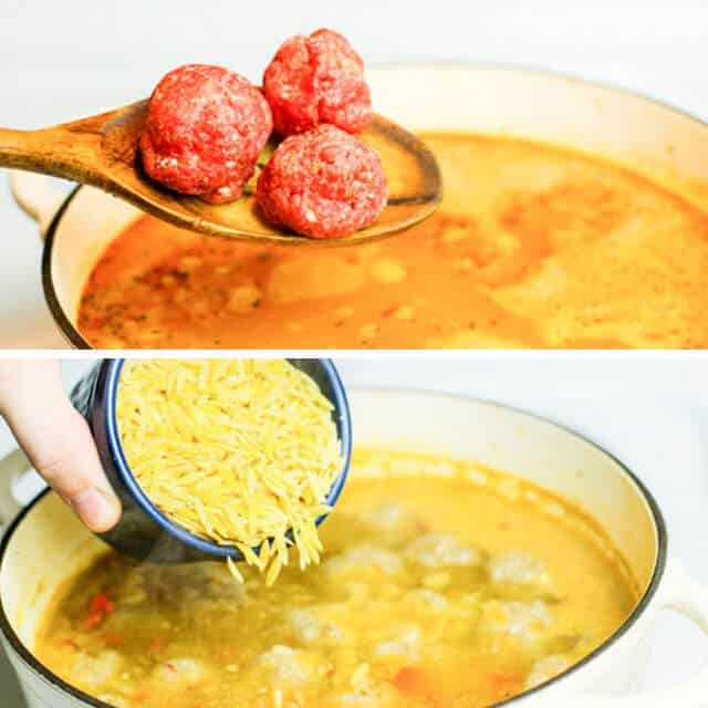 adding uncooked Albondigas meatballs and shredded cheese to Albondigas soup