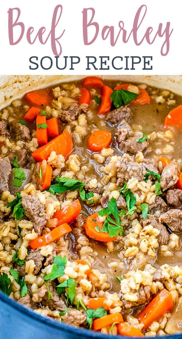 Comforting beef barley soup will warm you up on cold winter days! Tender beef, cooked carrots and pearl barley simmer in this beef broth based soup.