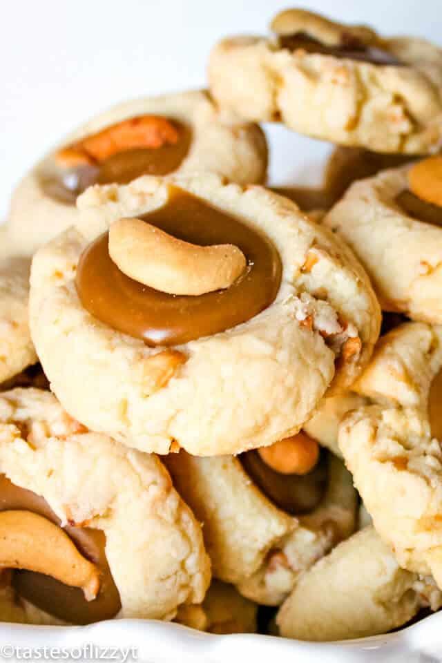 caramel cashew thumbprint cookies