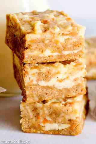Cream Cheese Carrot Cake Bars stacked