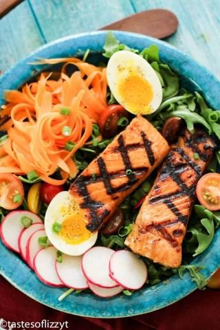 Brown Sugar Salmon overhead salad plate