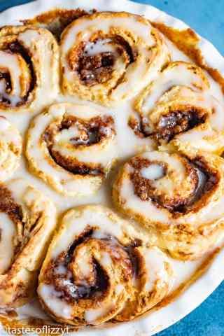 Easy Cinnamon Rolls with powdered sugar glaze