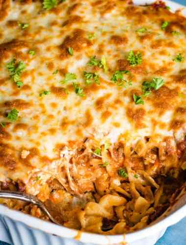 Lasagna Noodle Casserole with spoon
