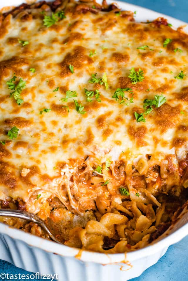 Lasagna Noodle Casserole with spoon